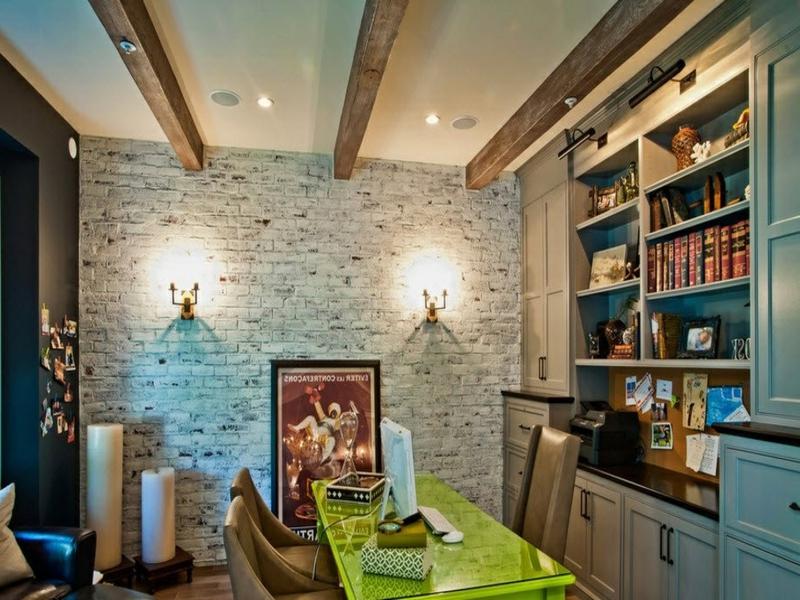 wanddesign mit weißen ziegeln im retro wohnzimmer