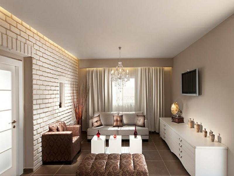 luxuriöses wanddesign mit weißen ziegeln im wohnzimmer