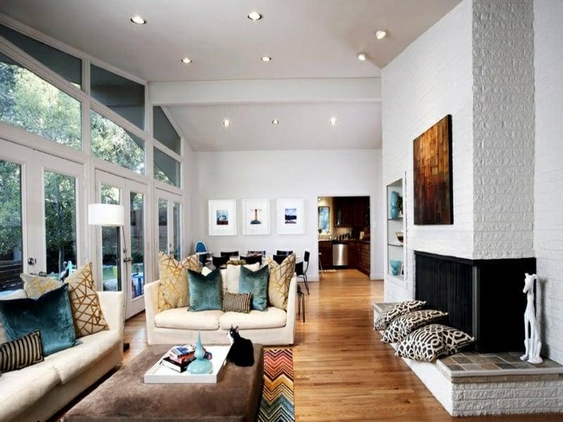 designer wanddesign mit weißen ziegeln im wohnzimmer
