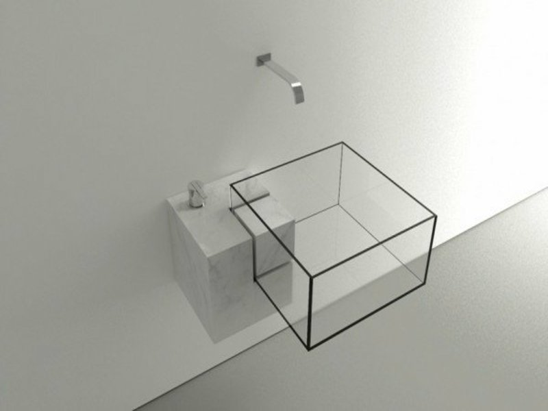 quadratisches waschbecken aus glas