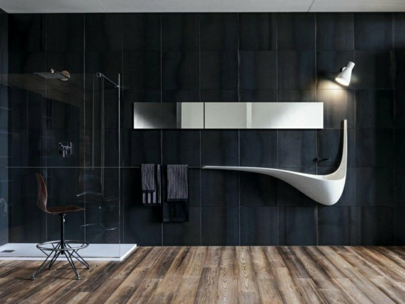 badideen für modernes waschbecken an schwarzer wand