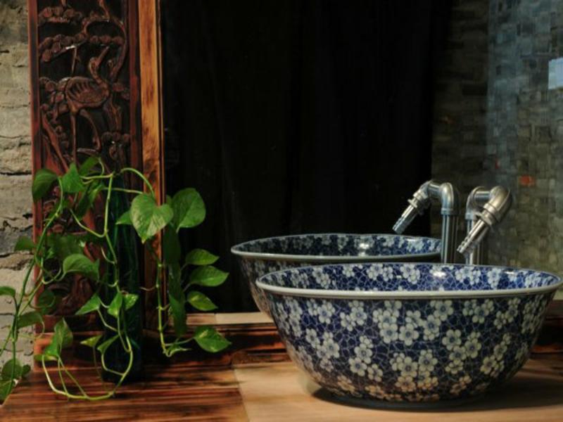 badideen für blaues waschbecken