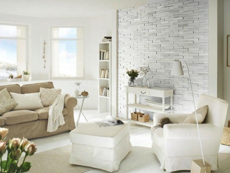 Weiße Steinwand steinoptik bei wandverkleidung liegt voll im trend