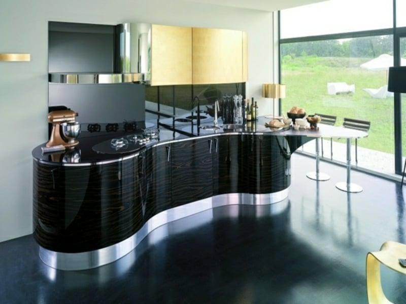 schwarze wellenförmige kücheninsel