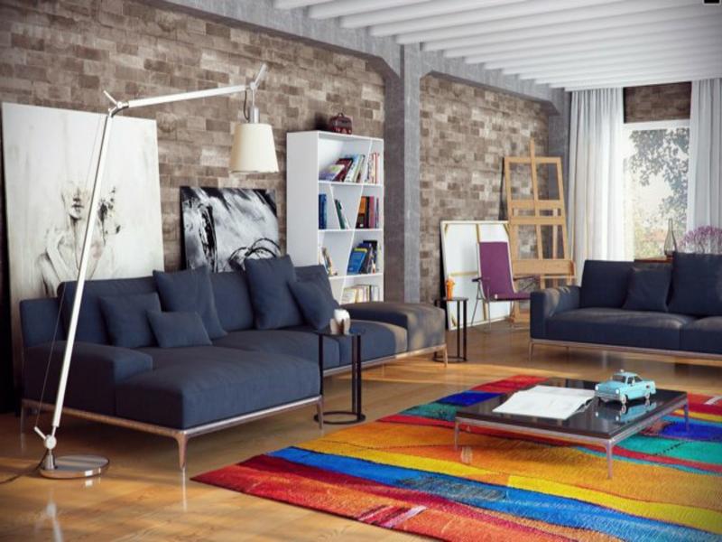 farbiges wohnzimmerteppich und dunkle möbel