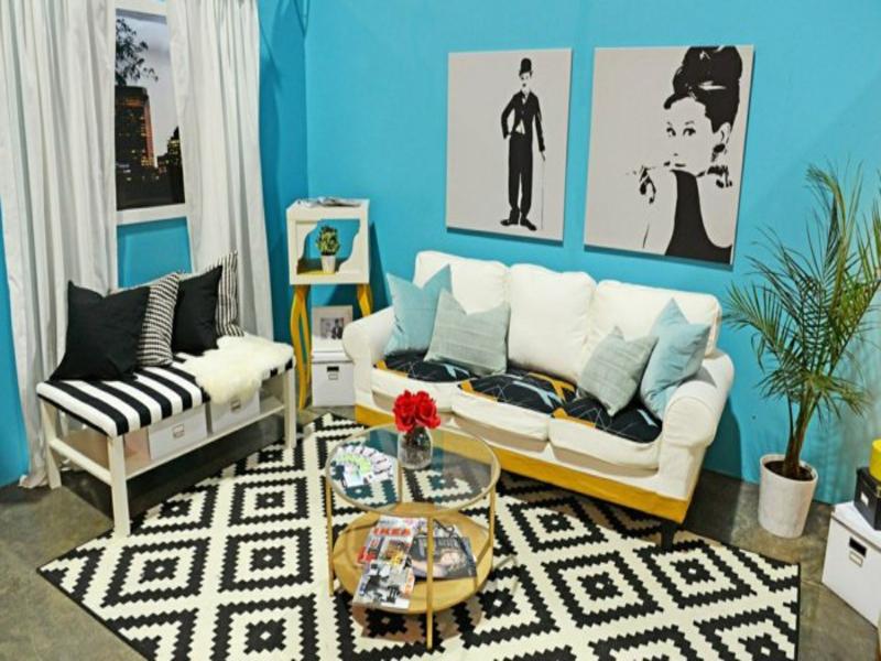wohnzimmerteppich mit retro elementen
