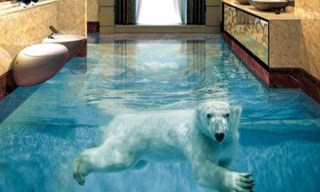 3D-Fliesen-custom-vinyl-flooring-adhesives-Polar-Bear-Underwater-World-font-b-3d-b-font-wall-mural-wallpaper