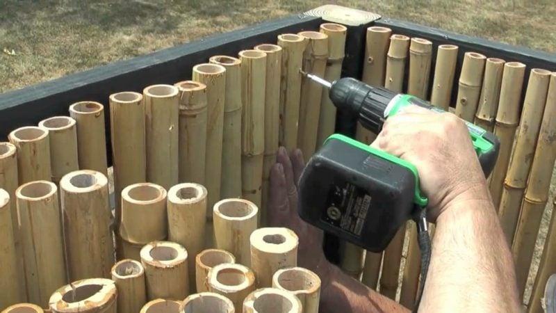 Gartenzaun aus Bambus Montage