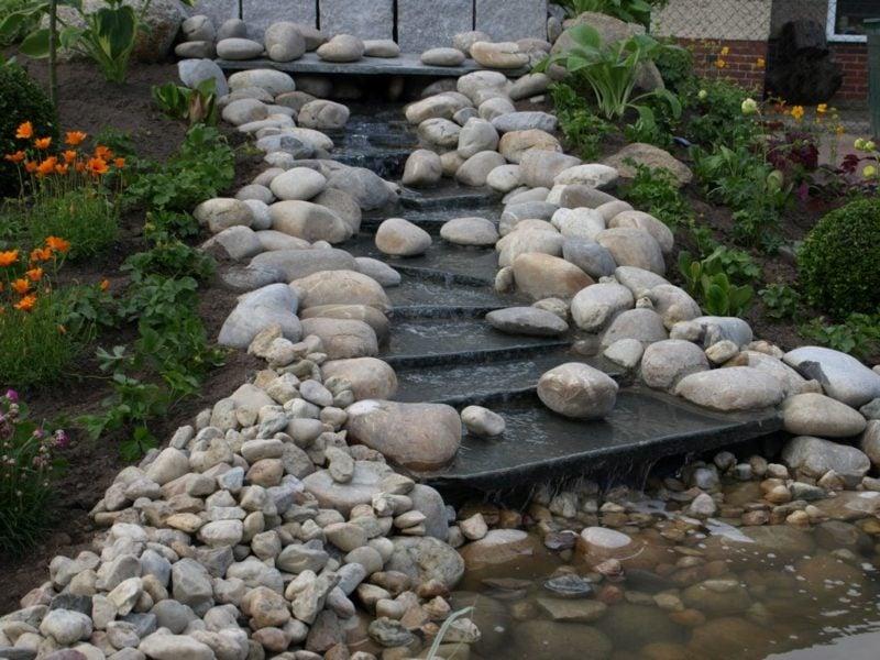 Bachlauf Steindeko kreative Gartengestaltung