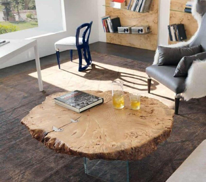 Wohnzimmergestaltung Treibholz Möbel Kaffeetisch