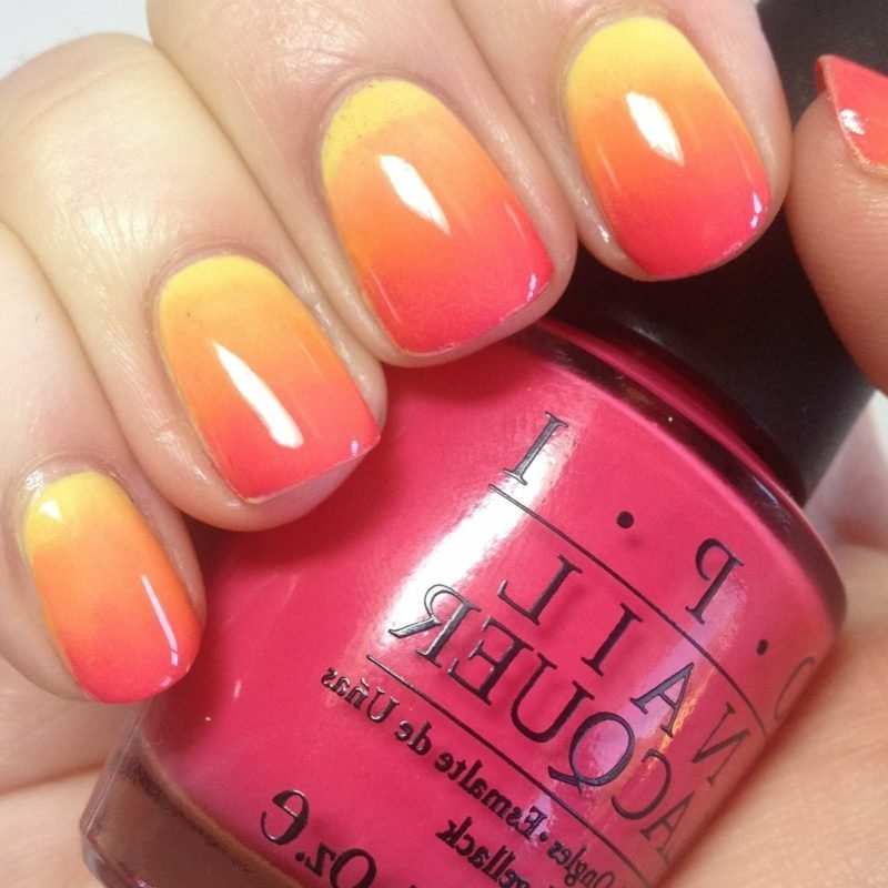 Nageldesign Ombre Rot, Orange und Gelb