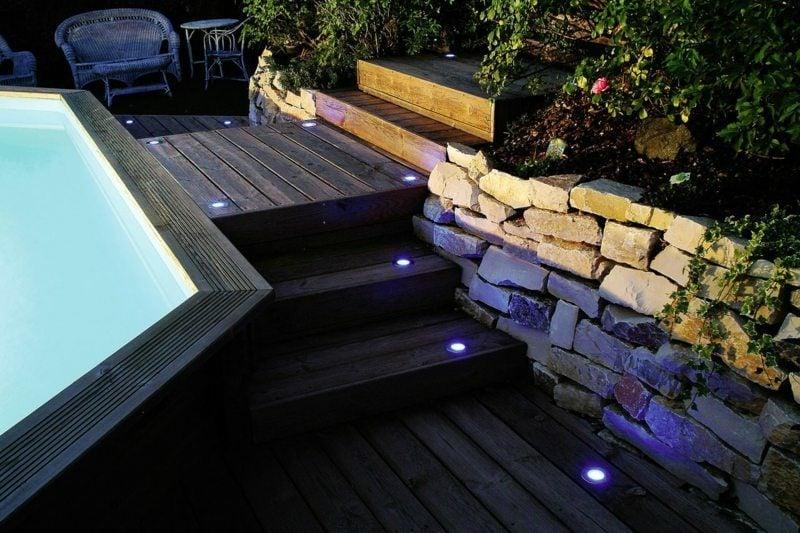 Poolbereich eingebaute LED Gartenbeleuchtung