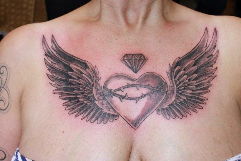 Herz Tattoo heart and wings tattoo