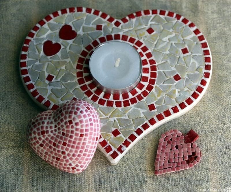 Mosaik basteln Herzen aus Mosaik