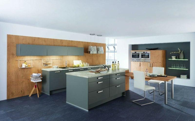 Kücheninsel im Grau moderne Küchengestaltung