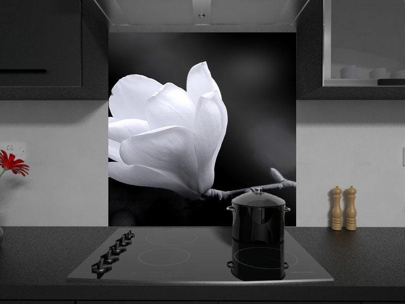 Küchenrückwand Ideen weiss Blume Bild