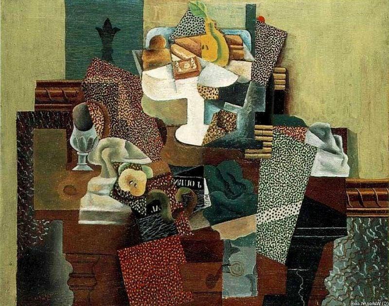 Kubismus Merkmale Pablo Picasso Stillleben Mit Früchte Auf Dem Tisch