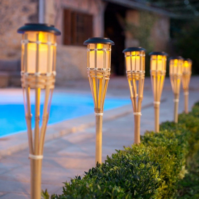 exotische Solarlampen Bambus