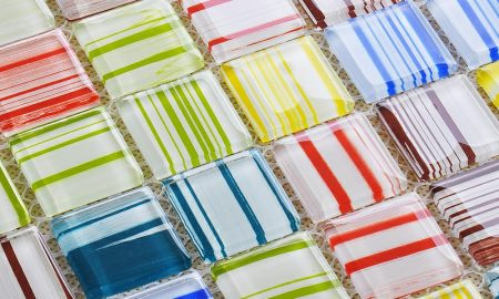 Mosaik selber basteln Mosaik Teilchen farbenfroh