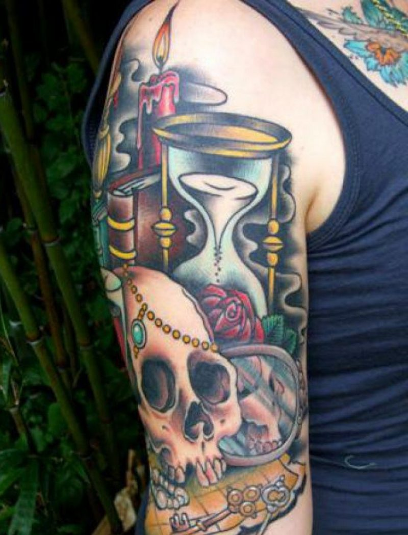Sanduhr Tattoo skull