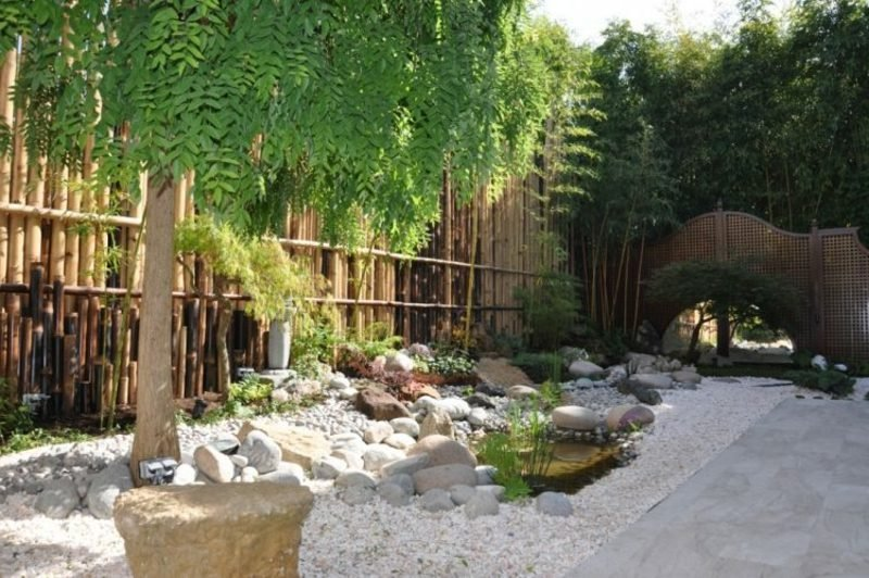 Sichtschutzzaun Gartengestaltung nach Feng Shui