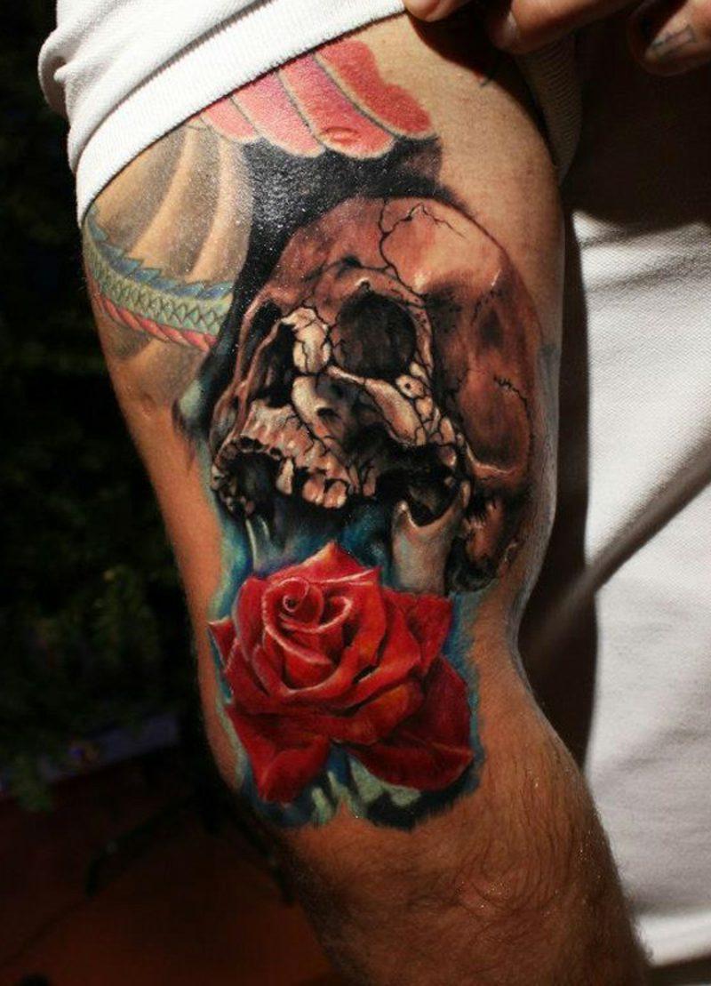totenkopf tattoo ideen und symbolik tattoos zenideen. Black Bedroom Furniture Sets. Home Design Ideas