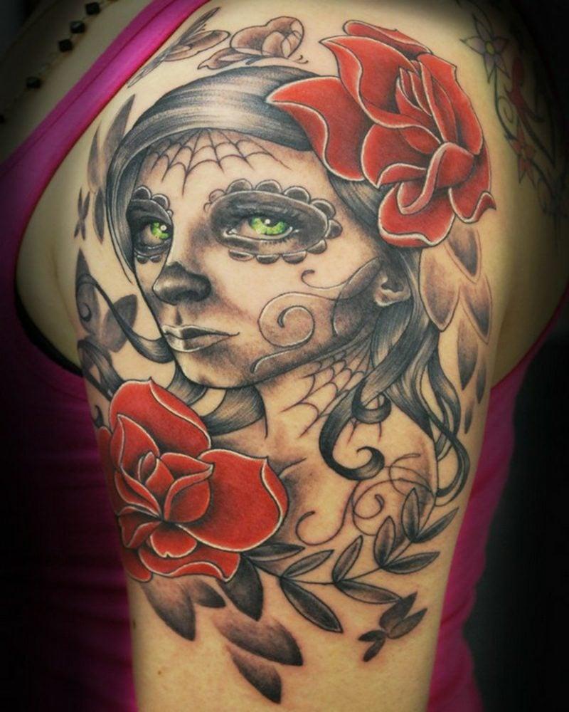 totenkopf mit rosen tattoo military skull arm tattoo with. Black Bedroom Furniture Sets. Home Design Ideas