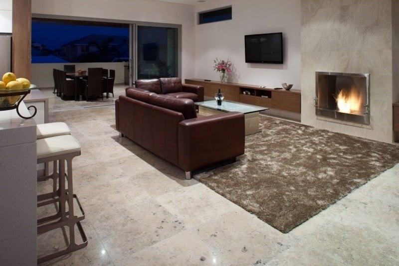 Wohnzimmer Bodenbelag Travertin Fliesen
