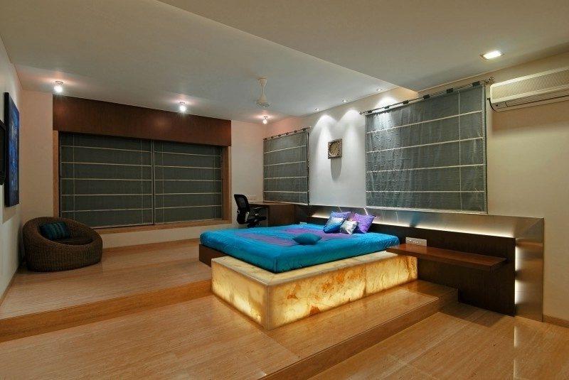 Schlafzimmerdesign Travertin Fliesen