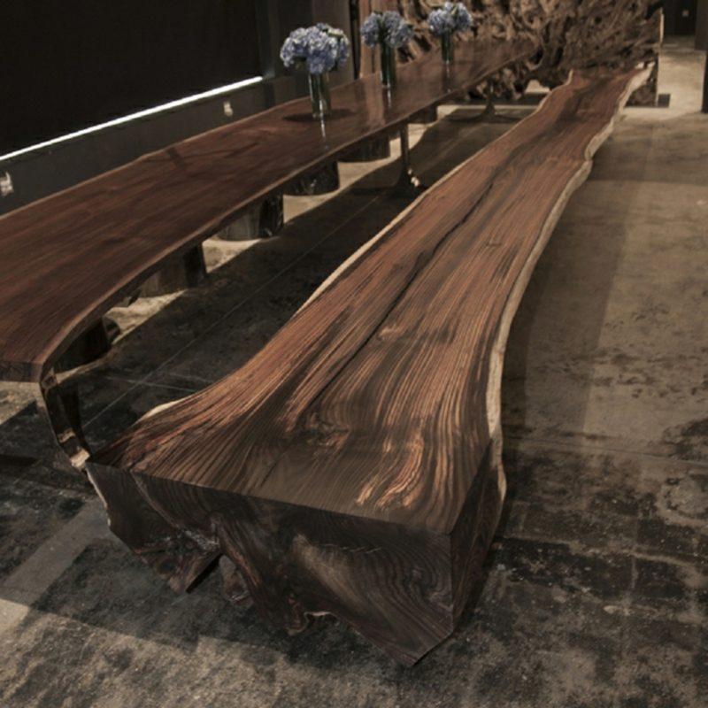 massive Sitzbank aus Treibholz