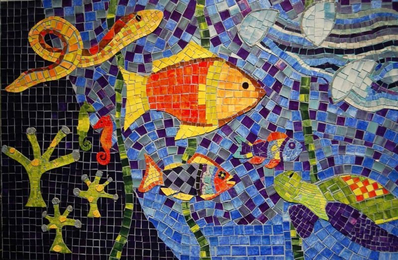 Mosaik Bastelideen Unterwasserwelt