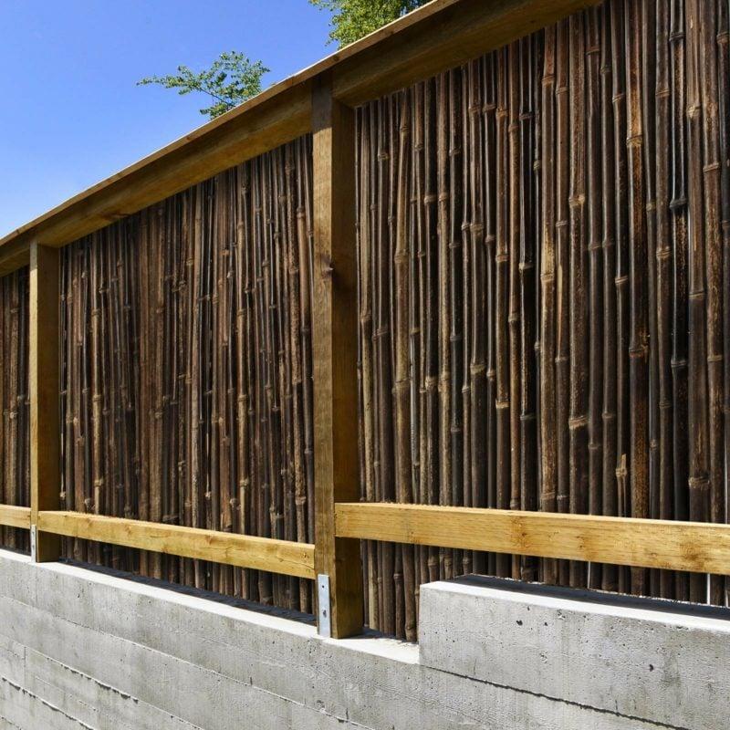 Bambuszaun dunkel Gartendeko
