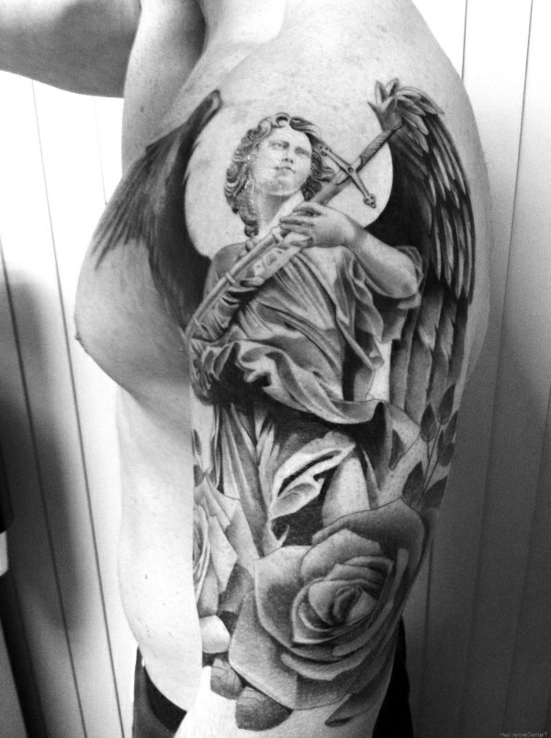 engel tattoo angel guardian roses