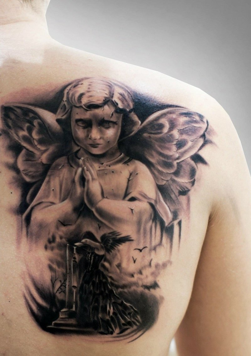 engel tattoo beautiful praying cherub