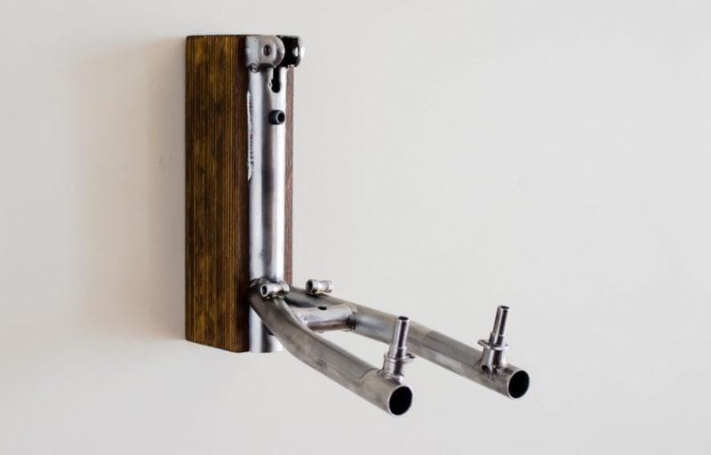 Fahrradhalterung für Wand aus Holz und Metal