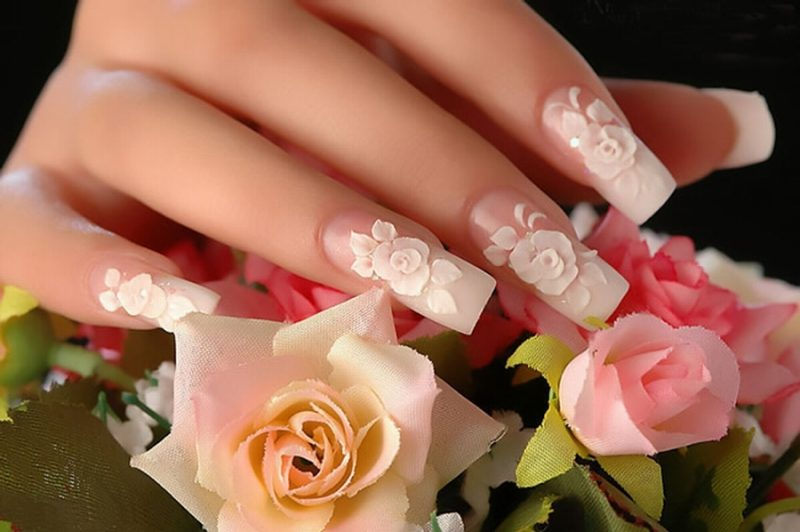 Fingernagel Design 3D Rosen
