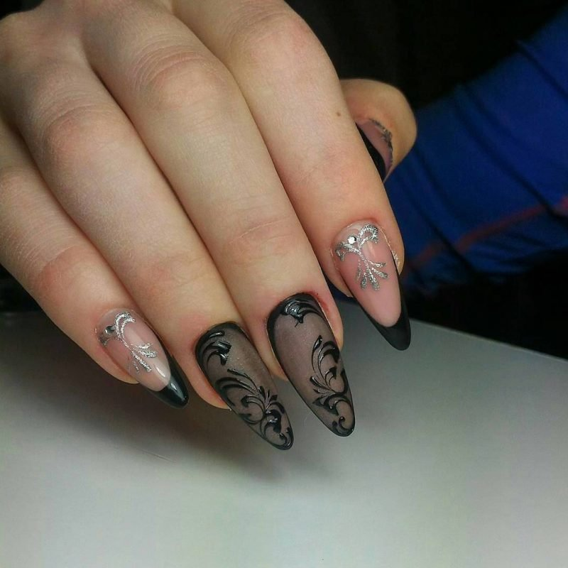 Fingernagel Design Schwarz