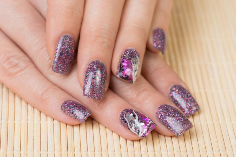 Fingernagel Design Glitter