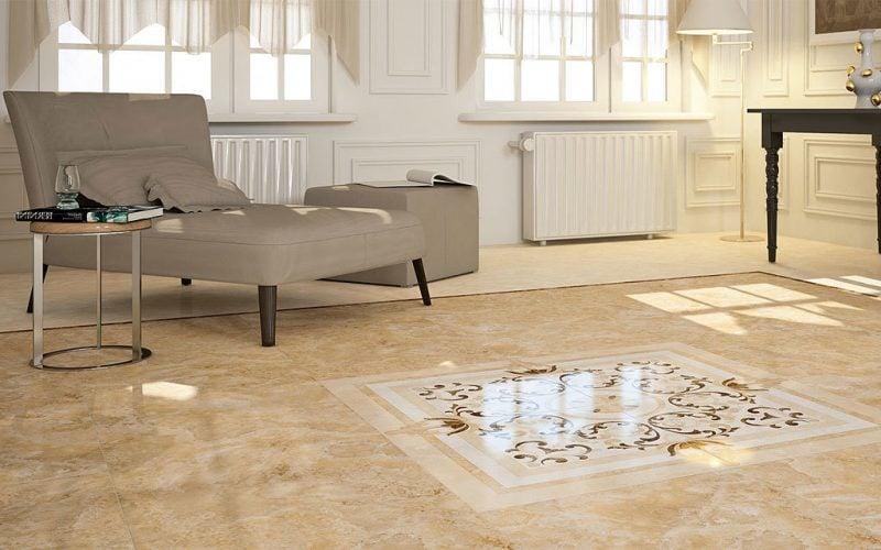 Fliesen im Wohnzimmer Marmorboden