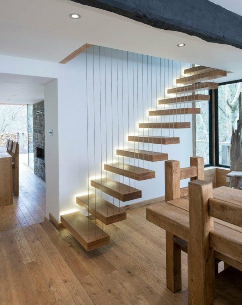 freitragende treppe 40 moderne designideen. Black Bedroom Furniture Sets. Home Design Ideas
