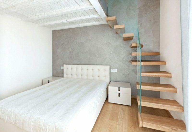 freihängende Treppe aus Holz Schlafzimmer