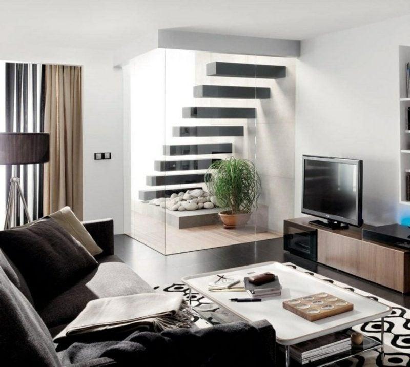 Wohnzimmergestaltung freihängende Treppe