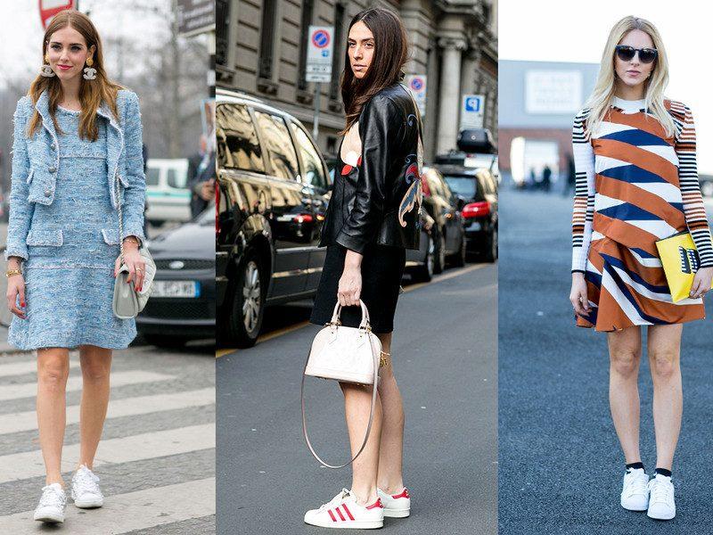 Frühlingsoutfit Sneakers mit Kleid