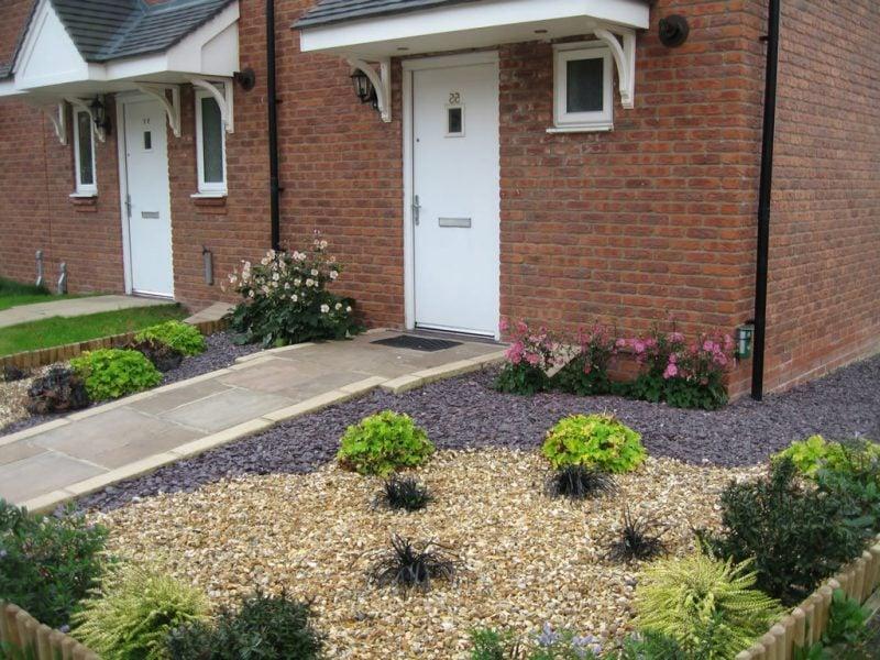 Gartengestaltung mit Kies Vorgarten