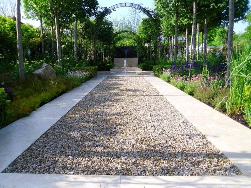 Gartengestaltung mit Kies Kiesweg