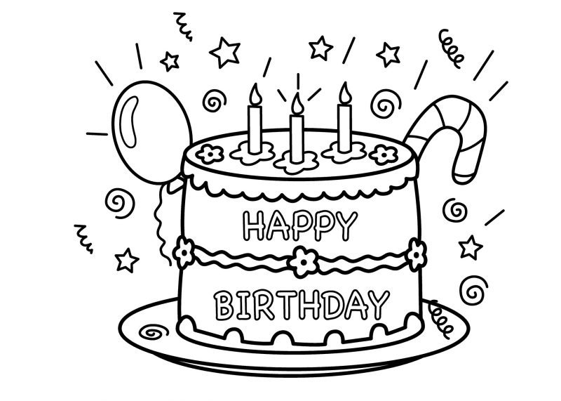 Birthday Cake Colouring Pages To Print