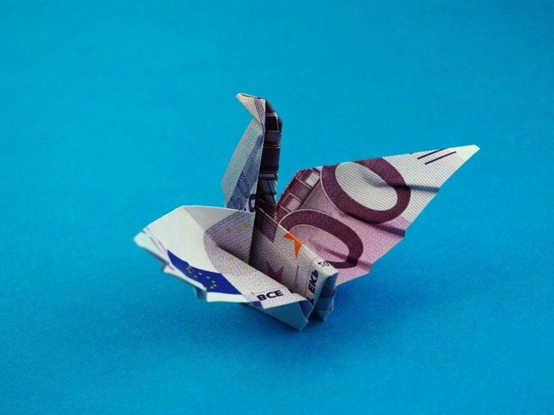 geld herz falten vogel