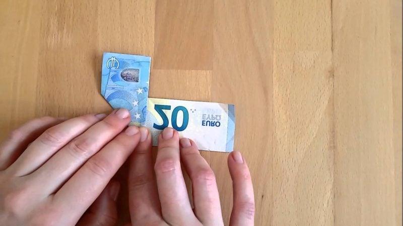 geld herz falten blau