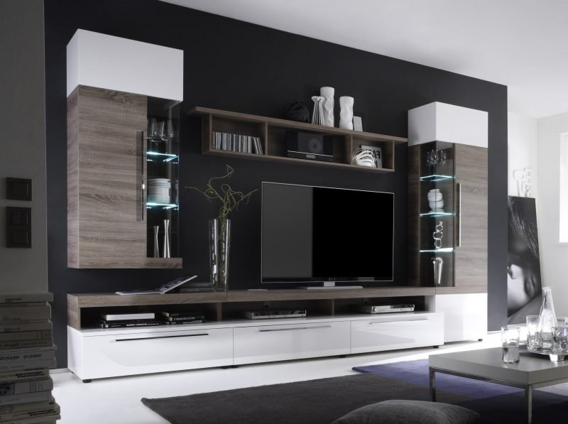 wohnwand modern h lsta. Black Bedroom Furniture Sets. Home Design Ideas