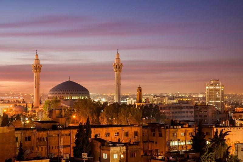 hauptstadt-von-jordanienking abdullah mosque amman by night